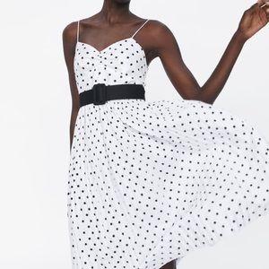 Zara pleated polka dot dress